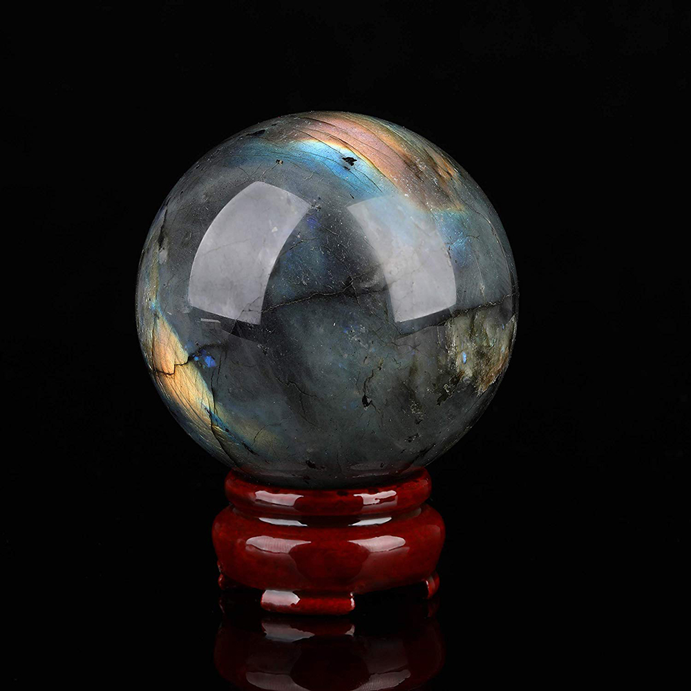 Natural Labradorite Quartz Crystal Ball Flash Moonstone Sphere Reiki Healing Cristaux Wicca Fengshui Decoration Free Wood Stand 1