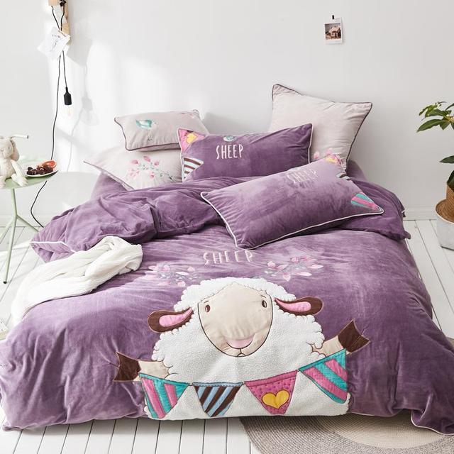 Cartoon Little Sheep King Queen Size Baby Fleece Bedding Set Duvet Cover Bed  Linen Bed Sheet