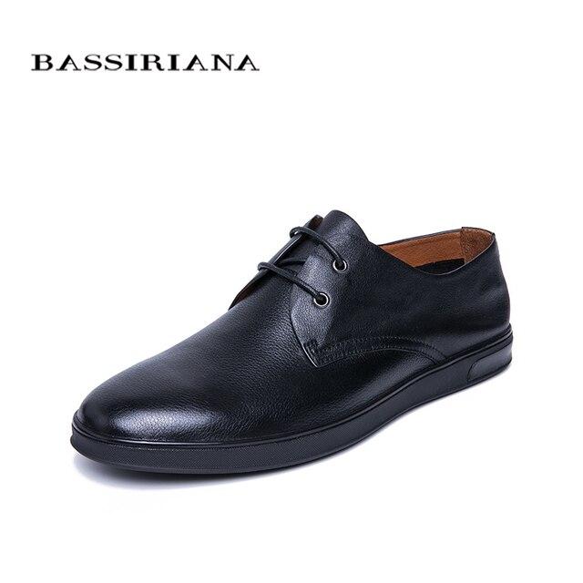 BASSIRIANA/Новинка 2019 г. мужская повседневная обувь из натуральной кожи на шнуровке, удобная обувь с круглым носком, весна-осень, размеры 39-45, ручная работа