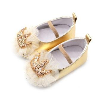 Infant Newborn Baby Girl Shoes Soft Anti-Slip Crib Shoes Sequin Crown Princess Dress Shoes for 0-18 MonthS tanie i dobre opinie WEIXINBUY CN (pochodzenie) PATCH wszystkie pory roku elastyczna opaska Z patchworku dla dziewczynki Buty do nauki chodzenia