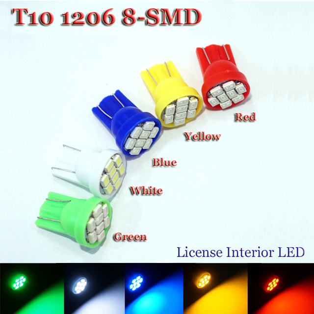 20pcs T10 194 2825 W5W 8 led 3020 smd Car marker light reading dome Lamp door lamp Auto Clearance Lights License Plate bulbs 12V