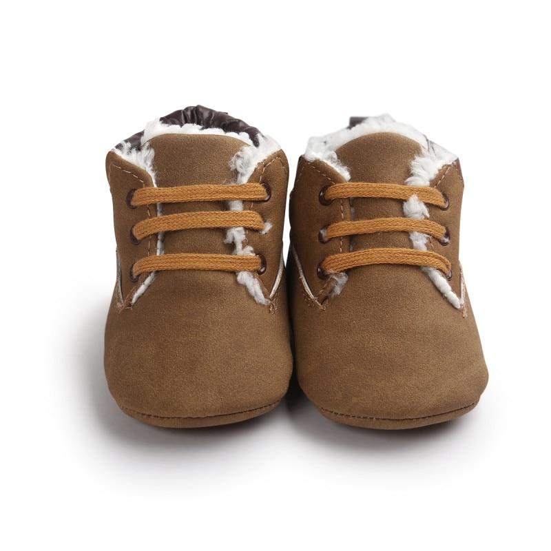 Kūdikių naujagimio žiemos batai Minkšti apatiniai nėriniai Klasikiniai kaklaraiščiai batai Vaikiški batai mažylis berniukas storas šiltas Zapatos Bebes 0-18 m