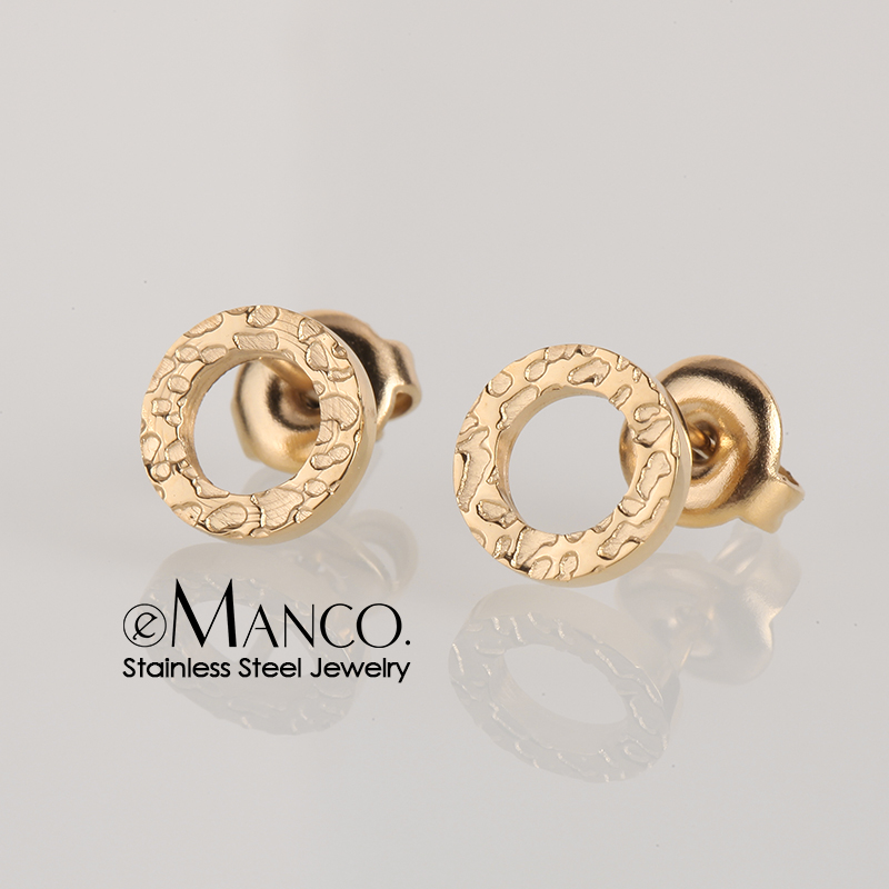 e-Manco Vintage Stainless Steel Earrings for women Round Small Stud Earrings Ladies Safety Pin Earrings
