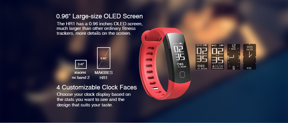 US $14 24 40% OFF|11 11 Makibes HR1 Bluetooth 4 0 Smart Bracelet Fitness  Activity Tracker Continuous Heart Rate Monitor Wristband For Android ios-in