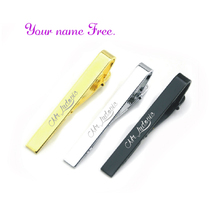 Fashion Silver and gold Simple Necktie Tie Pin customized free with your wedding date names 30pcs favors