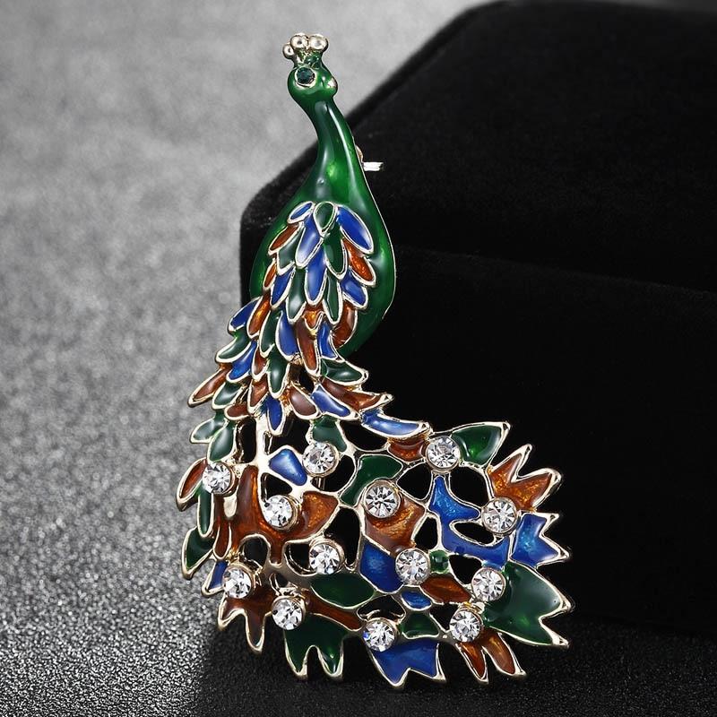 Moda Mujeres coloridas Esmalte Broches de pavo real Ramo Bolsos de - Bisutería
