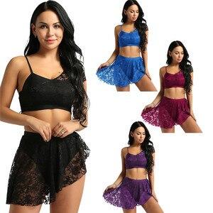 Image 2 - TiaoBug traje de baile lírico asimétrico para mujer, de encaje, Top corto de gimnasia para adulto, falda tutú de Ballet, conjunto de baile de bailarina
