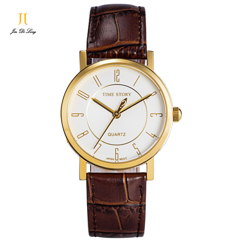 Brand TS Fashion Ladies Casual Quartz Watch Women Business Wrist Watches Leather Strap Waterproof  50M Anti-Clockwise For Option цена и фото