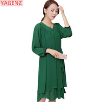 YAGENZ Seven points Sleeve Plus size 8XL Womens Long Dresses Fashion V collar Pure color Summer Dress Females Pullover Dress 937