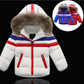 2016 New Arrive Winter Girls Jackets & Coats Fashion Fur Collar Striped Thick Warm  Short Winter Down Jacket Girl Hot Sale
