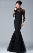 Black High Neck Long Sleeves Appliques Lace Mermaid Prom Evening Dresses Gowns M1424