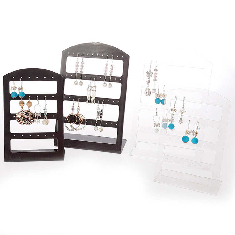 24/48 Holes Earrings Display Stand Holder Jewelry Show Rack Acrylic  Organizer Earring Holder Jewelry Rack Shop Jewelry Organizat