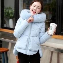Зимняя мода куртки женщины Натуральный мех с капюшоном ватные куртки женщины средней длины случайные хлопка-ватник утолщение теплый пальто