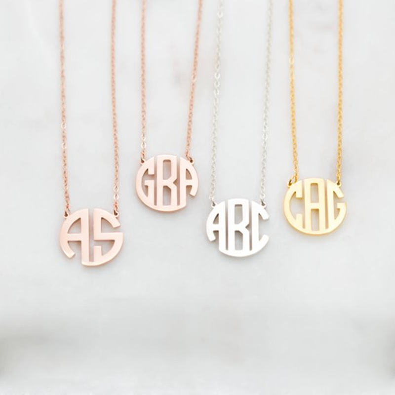 Personalized Mother Gift Silver Monogram Name Necklace Women Custom Nameplated Jewelry Stainless Steel Bijoux Femme 2019