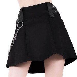 Женская летняя мини-юбка, с высокой талией, на молнии, с железной цепочкой, в стиле панк, из искусственной кожи
