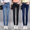 2016 зима высокой талией джинсы Женские Джинсы полный длинные брюки стретч эластичный пояс Хлопок Мягкий джинсовые брюки Femme джинсы женские синий