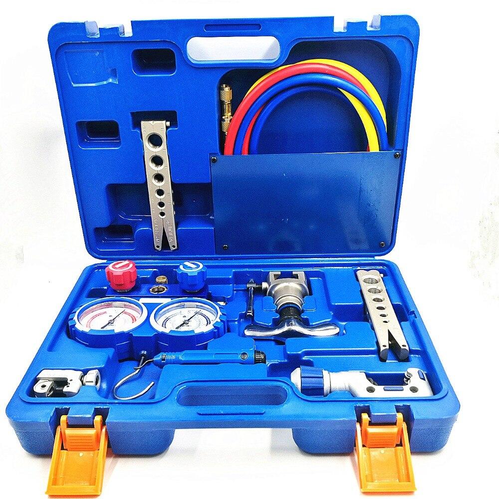 Queima de kits de ferramentas de refrigeração Integrado VTB-5B Refrigeração ferramenta set conjunto Expansor com R410A medidor de pressão do refrigerante