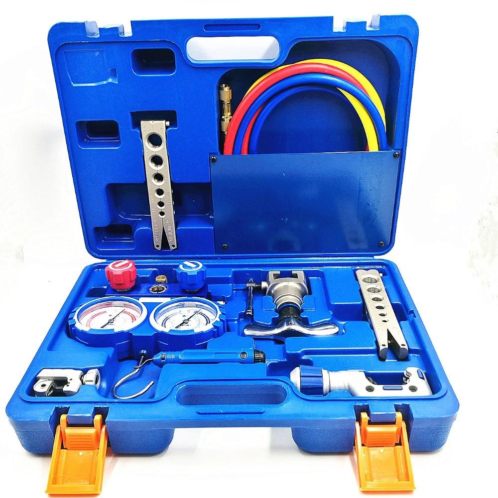 Refrigeration Integrated Flaring Tool Kits VTB-5B Refrigeration Tool Set Expander Set With R410A Refrigerant Pressure Gauge