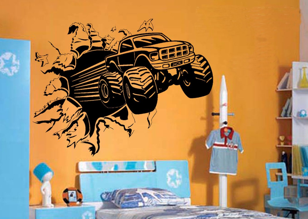 Buy blasting monster truck bedroom for Creative mural art