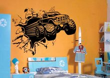 Blasting Monster Truck BEDROOM CREATIVE WALL MURAL ART STICKER TRANSFER VINYL CUT DECAL STENCIL HOME DECOR(China)