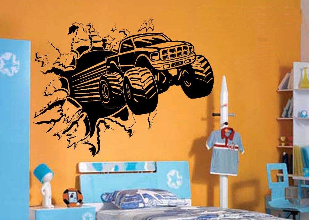 Blasting Monster Truck BEDROOM CREATIVE WALL MURAL ART STICKER TRANSFER  VINYL CUT DECAL STENCIL HOME DECOR Great Ideas