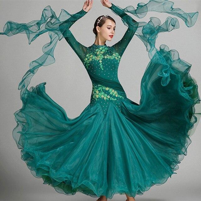9 видов цветов красный синий бальных танцев конкурс платья вальс Танцы платье бахрома светящиеся костюмы стандартные Бальные платья фокстрот