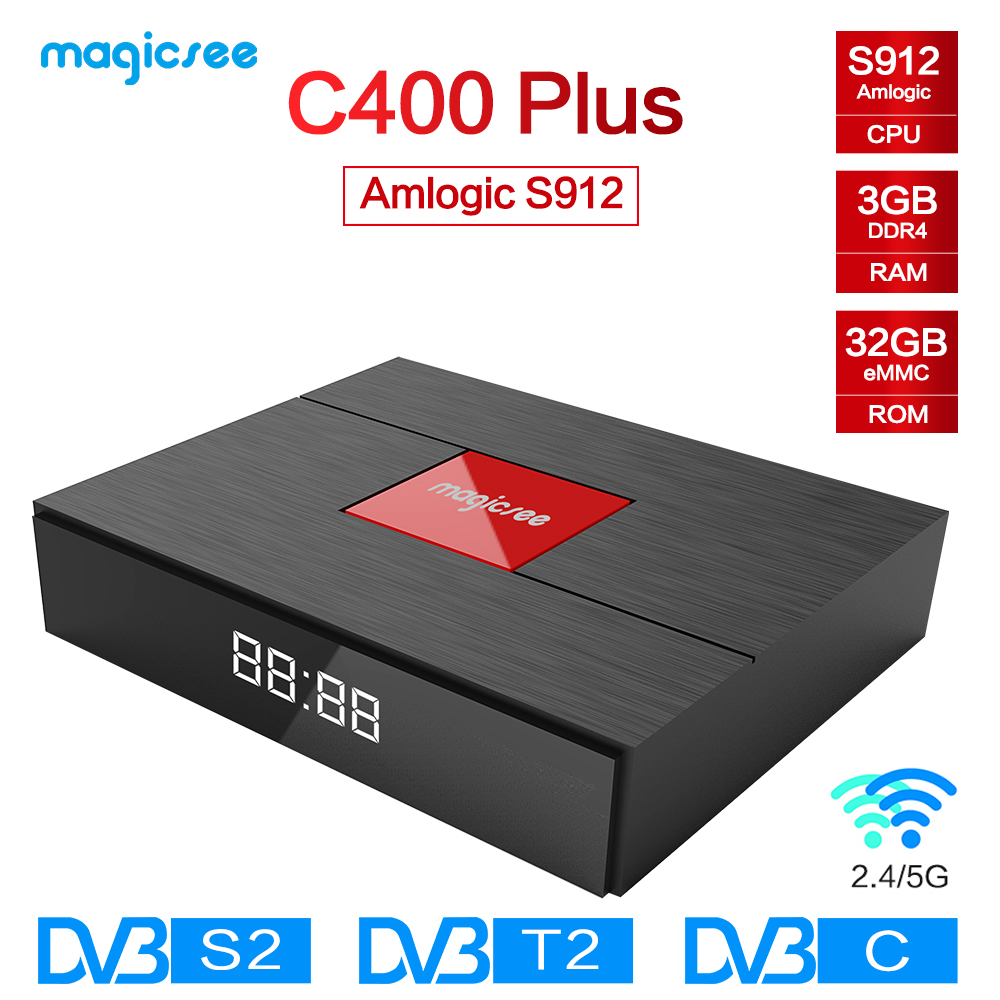 Magicsee C400 Plus Amlogic S912 Octa Core TV Box 3 + 32 gb Android 4 k Smart TV Box DVB-S2 DVB-T2 Câble Double WiFi Smart Media Player
