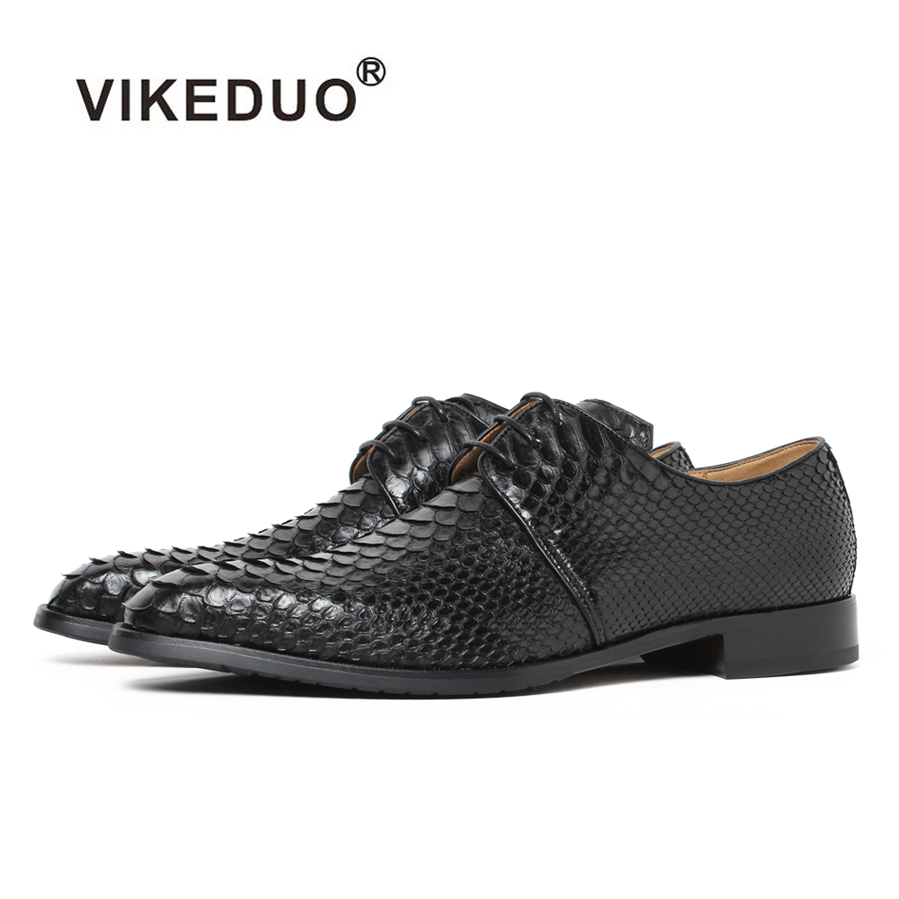 Vikeduo 2019 Handmade Snake Skin Designer Fashion Luxury Wedding Party Dance Brand Male Dress Genuine Leather Mens Derby Shoes