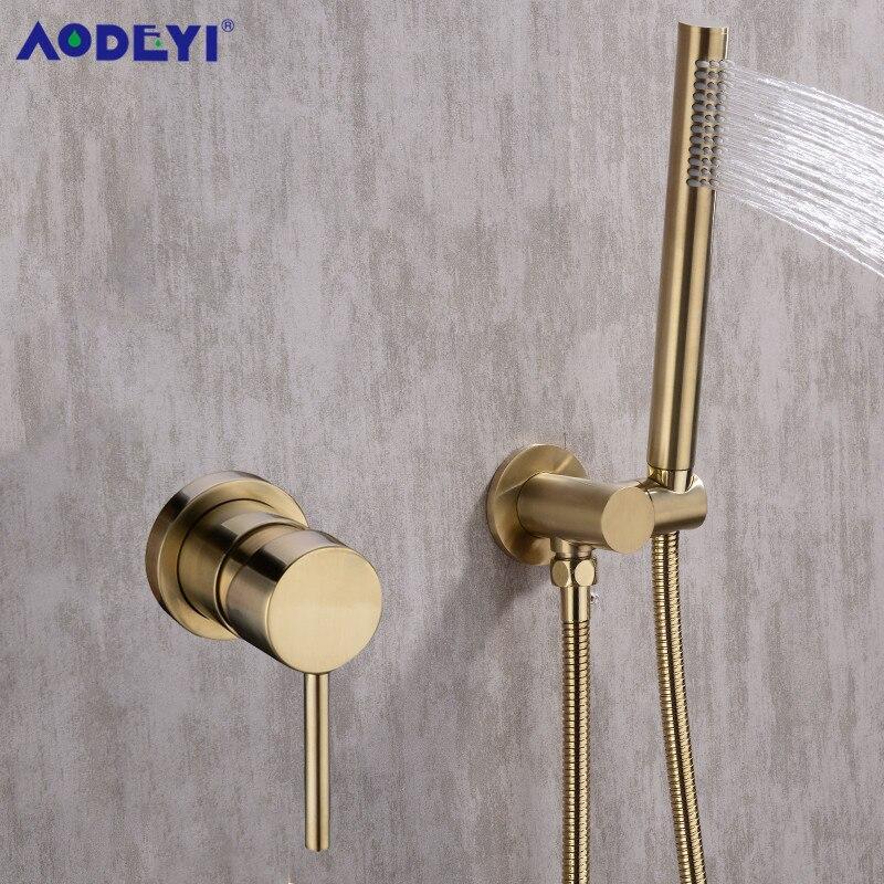 AODEYI Ouro Conjunto Torneira Do Chuveiro Parede Escondida Montado Embutido Banheiro Chuveiro Mixer Vlave Mão Segurava a Cabeça de Chuveiro Escovado Preto