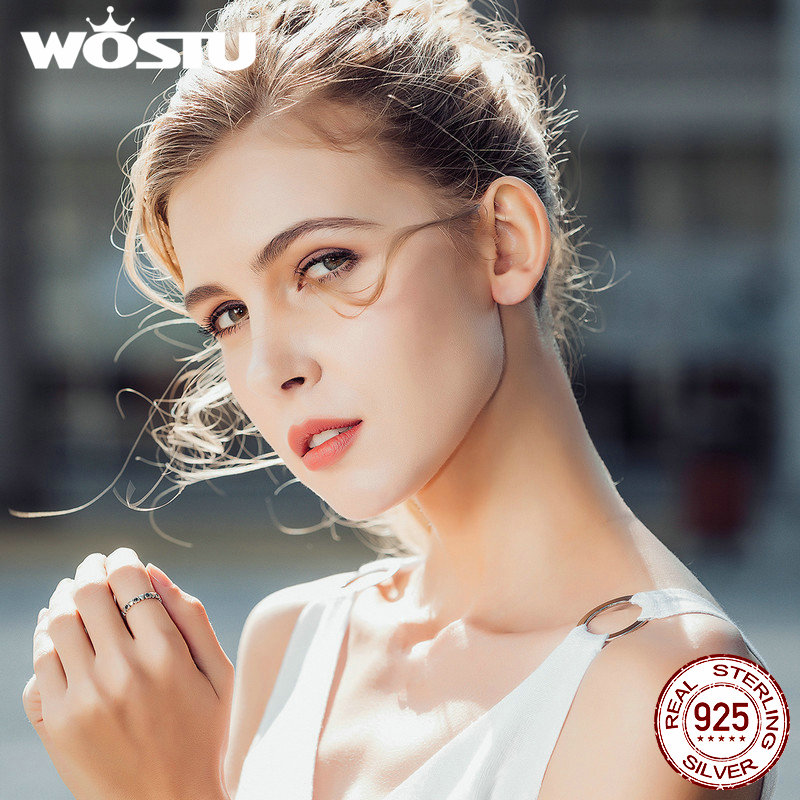 Image 2 - WOSTU Hot Sale 925 Sterling Silver Forever Love Heart, Black CZ Stackable Rings For Women Fine Brand Jewelry Gift CQR140-in Rings from Jewelry & Accessories