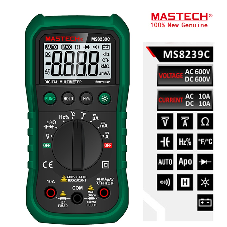 Mastech MS8239C Handheld Auto Range Digital Multimeter AC DC Voltage Current Capacitance Resistance Frequency Temperature Tester mastech ms8250a digital multimeter auto range tester detector