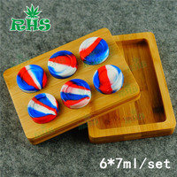 6*7ml Custom Wooden container jar storage Box holder Container Bamboo Tray Wax Dab Oil Silicone jars with Dab Tools 1set