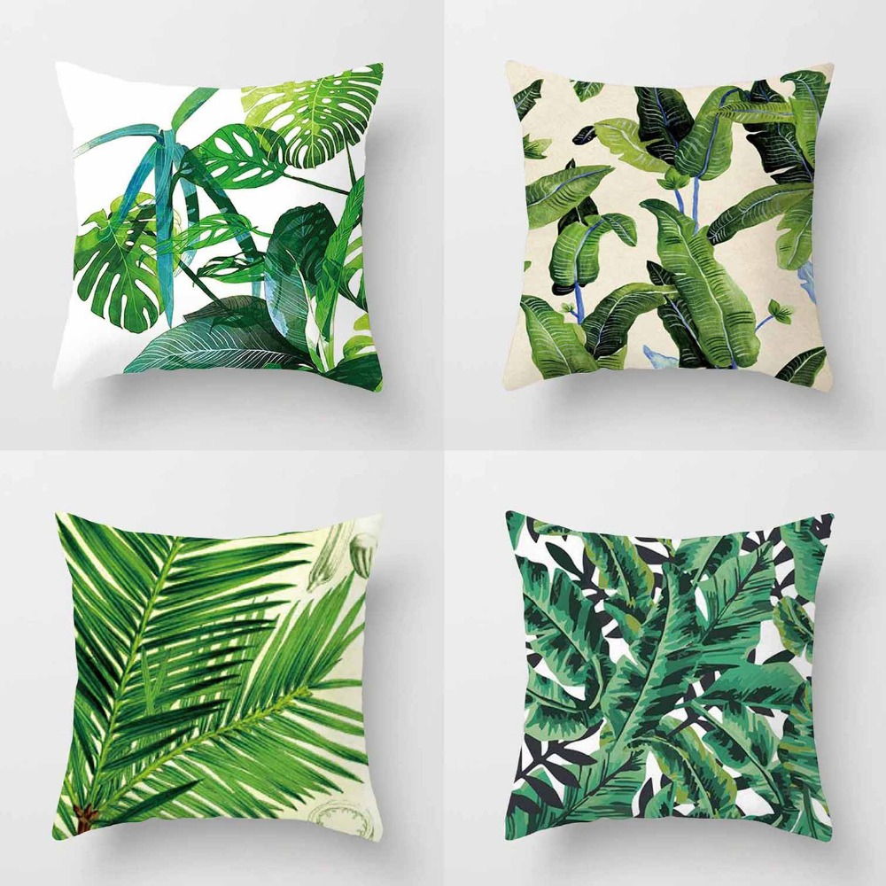 geen tropical banana leaf palm leaves decorative pillows covers cushion throw pillow case for sofa home - Pillows Decorative