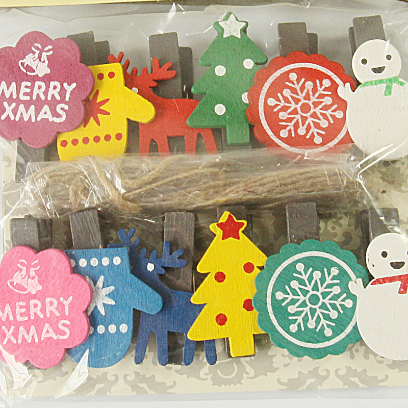 1set (12pcs) Novelty Christmas party gift clip/ cute mini photo clip for party decoration/ stationery childrens gift