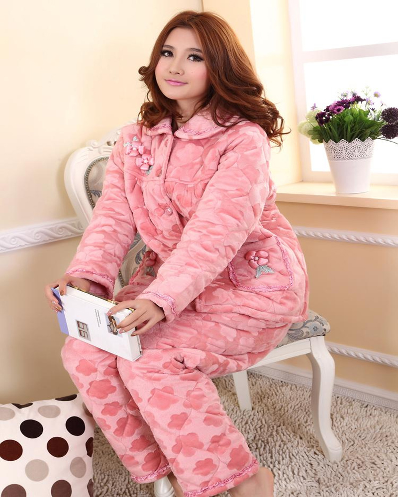 37683d75ec Xiangerma Winter Coral Velvet Quilted Pajamas Ms. Winter Thick Quilted  Flannel Pajama Suit Tracksuit Female Models