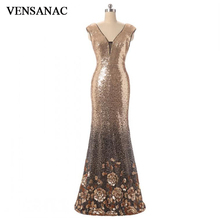 VENSANAC 2018 V Neck Sequined Mermaid Long Evening Dresses Party Lace Tank Flowers Patterns Backless Prom Gowns