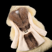Autumn Ladies' Nature Rabbit Fur Coat Jacket Raccoon Fur Collar Winter Women Fur Trench Outerwear Coats Plus Size 4XL 5XL VK2217