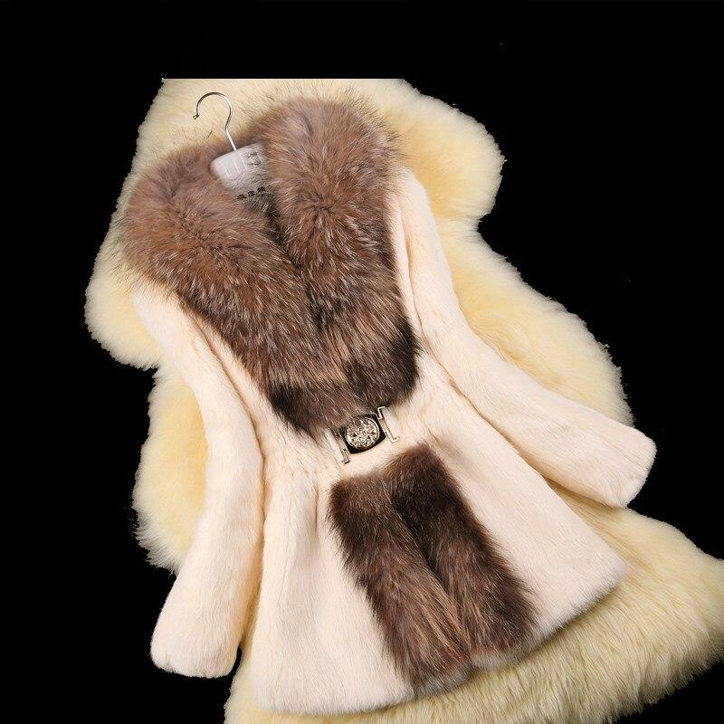 Natureza Coelho Casaco De Pele Das Senhoras do outono Jaqueta Gola de Pele De Guaxinim inverno Mulheres Fur Trench Coats Casacos Plus Size 4XL 5XL VK2217