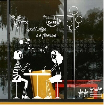 Custom design freehand shop window sticker glass wall stickers