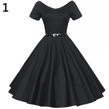 2016 New Women's Vintage Wide V-neck Long Swing Dress Short Sleeve Cocktail Party Dress