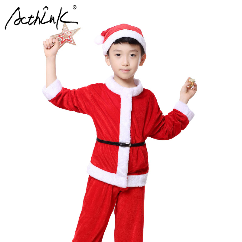 ActhInK New Boys 4PCS Christmas Santa Claus Suit Brand Top Quality Boys Christmas Costume Suit Kids New Year Clothing Set, YC122 2017 new boys clothing set camouflage 3 9t boy sports suits kids clothes suit cotton boys tracksuit teenage costume long sleeve