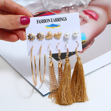 2019 Europe and America 6 Pair/Set Female Tassel Earrings Imitation Pearl Crystal Heart Flower Brincos For Women Jewelry Gift