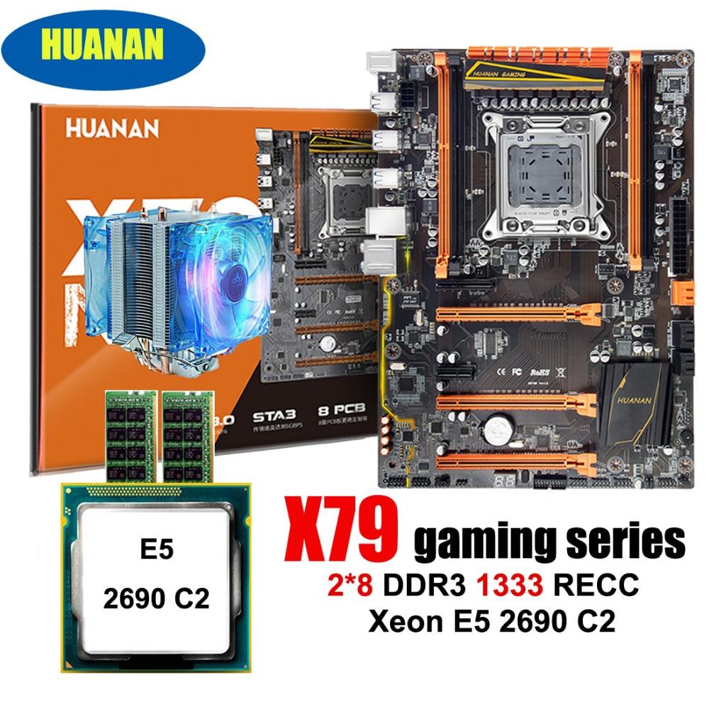 PC l'assemblée HUANAN deluxe X79 LGA2011 gaming carte mère CPU RAM combos Xeon E5 2690 C2 avec cooler RAM 16G (2*8G) DDR3 RECC