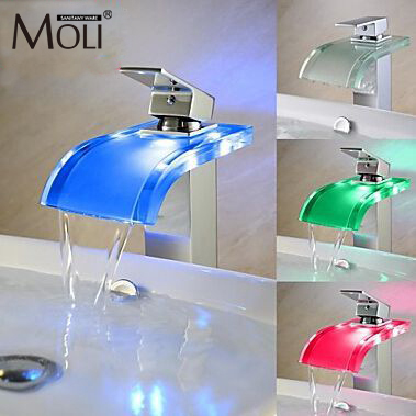 Glass faucets bathroom temperature sensitive 3 color changing led faucet single handle modern chrome faucet