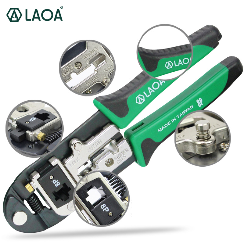 LAOA Network pliers Replaceable 8P Cable Crimper Crimping tools Electrical Wire Cutter Stripping tool Auto-lock cable type flexible wire long reach hose clip pliers hose clamp pliers for auto vehicle car repairs tools
