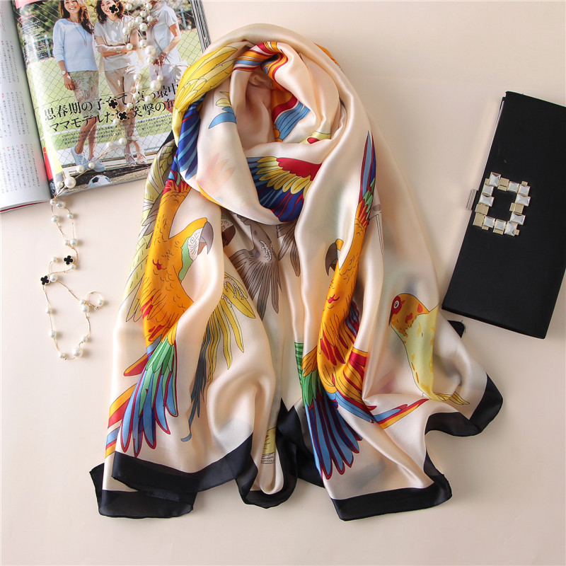 2019 Spring Luxury Brand Women Scarf Fashion Print Silk Scarves Soft And Large Size Pashmina Bandana Summer Beach Stoles Hijab