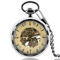 Brons Mechanisch Zakhorloge Transparant Skeleton Oppervlak Gouden heren Horloges Dames Mode Hanger Ketting Luxe Gift