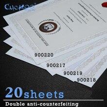 Купить онлайн 20 листов защиты от подделки, Watermark и флуоресценции под ультрафиолетового облучения A4 печати бумага Ретро плотная бумага