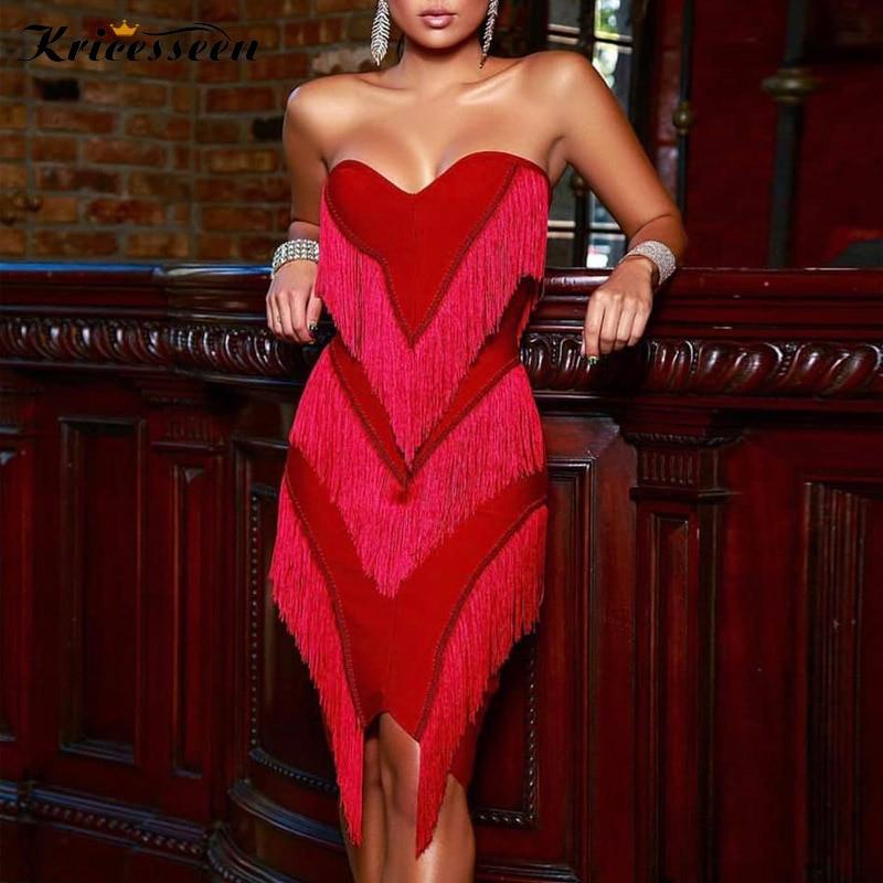 Kricesseen Sexy High Quality Elastic Tassel Knee Length Dress Women Summer Strapless Bodycon Party Clubwear Dress Vestidos