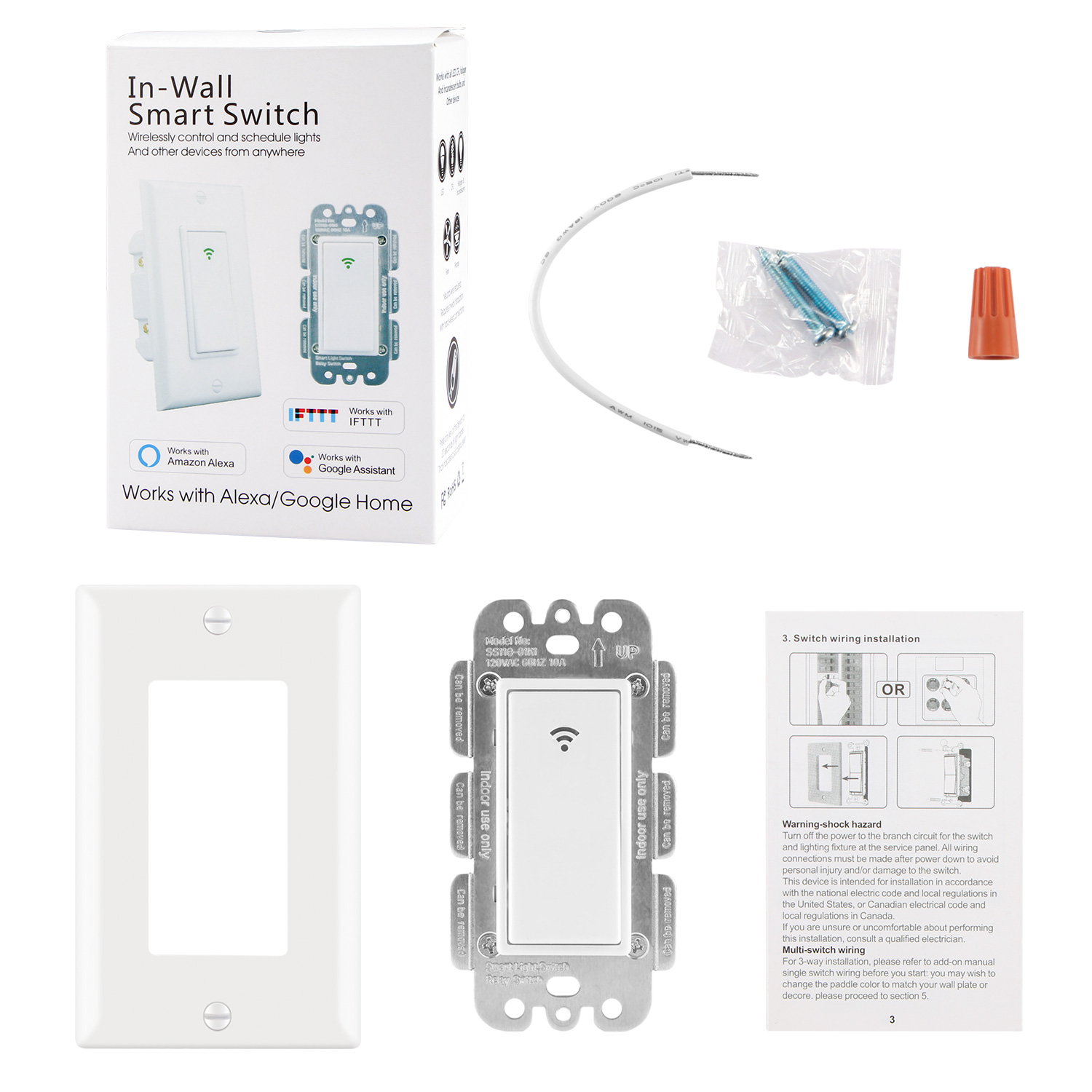 Smart Wifi Switch Us Plug 2000w Wall In Phone Remote Wiring 1smart Light 2long Screw 2short 1 Twisted Wire Cap 1standby Line 1package Box